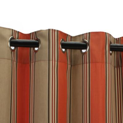 Passage Poppy Sunbrella Nickel Grommeted Outdoor Curtain 50 in. W by 96 in. L