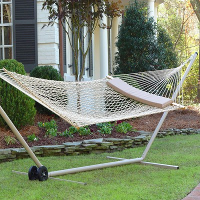 Taupe Polyester Rope Hammock with Pillow