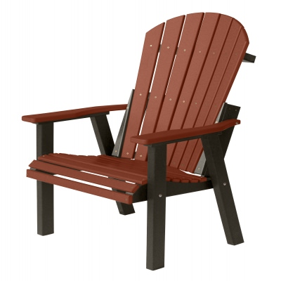 Comfo-Back Deck Chair - Burgundy on Black