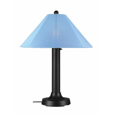 Black Catalina Outdoor Table Lamp with Sunbrella Shade