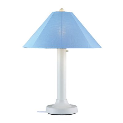 White Catalina Outdoor Table Lamp with Sunbrella Shade