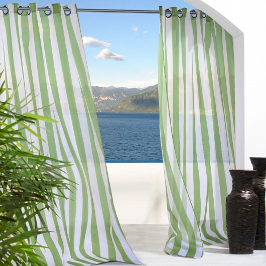 Green Stripe Escape Outdoor Curtain with Grommets