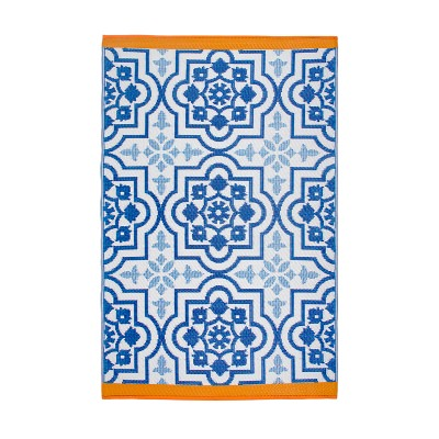 Puebla Blue Recycled Indoor/Outdoor Mat