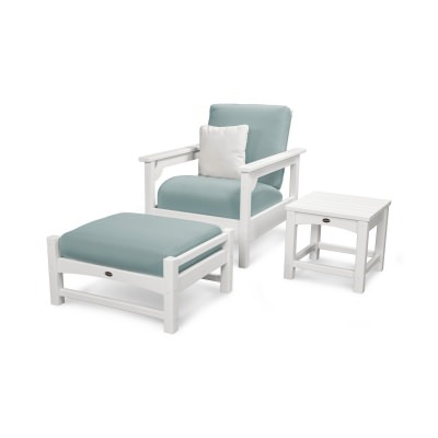 Club 3-Piece Deep Seatwithg Set with White Frame and Spa Cushion