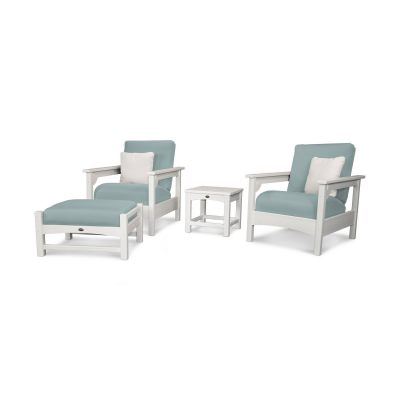 Club 4-Piece Deep Seatwithg Set with White Frame and Spa Cushion