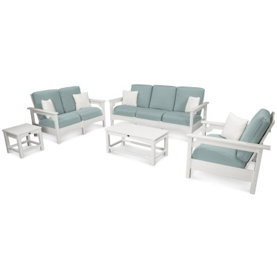 Club 5-Piece Deep Seatwithg Group with White Frame and Spa Cushion