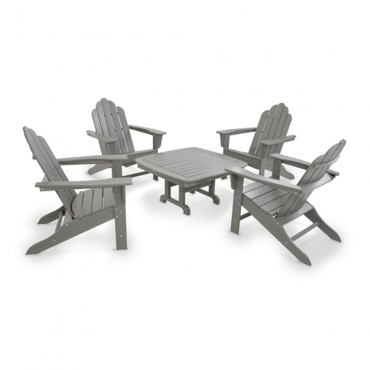Long Island Adirondack 5-Piece Conversation Group in Slate Grey