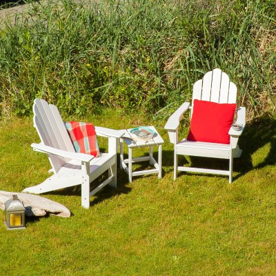 Long Island Adirondack 2 Chair and Side Table Set in White