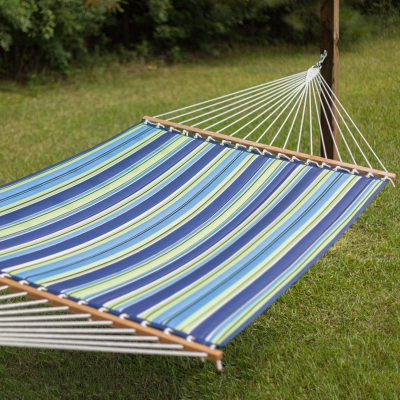 Large Polyester Quilted Hammock - Blue and Green Stripe