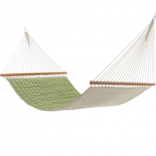 Large Quilted Sunbrella Fabric Hammock - Cast Moss