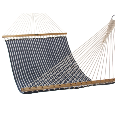 Large Quilted Fabric Hammock - Hunter Navy Stripe