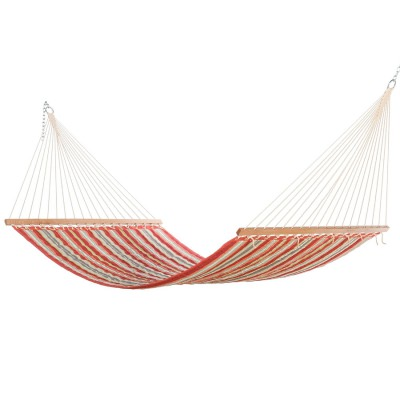 Large Polyester Quilted Hammock - Red and Orange Stripe