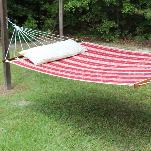 Large 2 Person Soft Polyester Quilted Hammock - Tuxedo Red and White Stripe