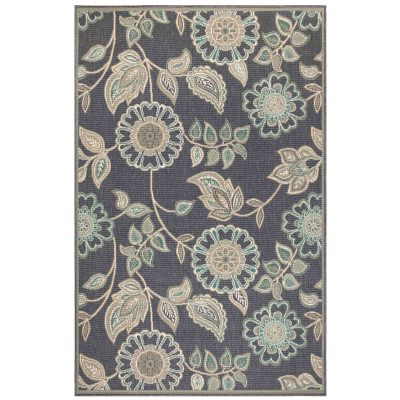 Riviera Floral Vine Navy Indoor/Outdoor Rug
