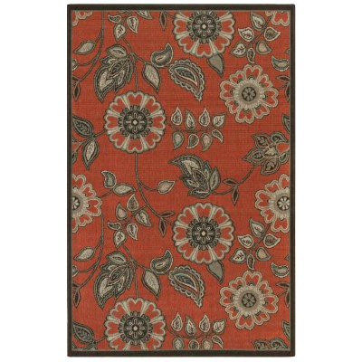 Riviera Floral Vine Red Indoor/Outdoor Rug