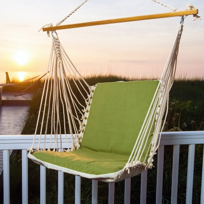 Sunbrella Cushioned Single Swing - Cast Moss