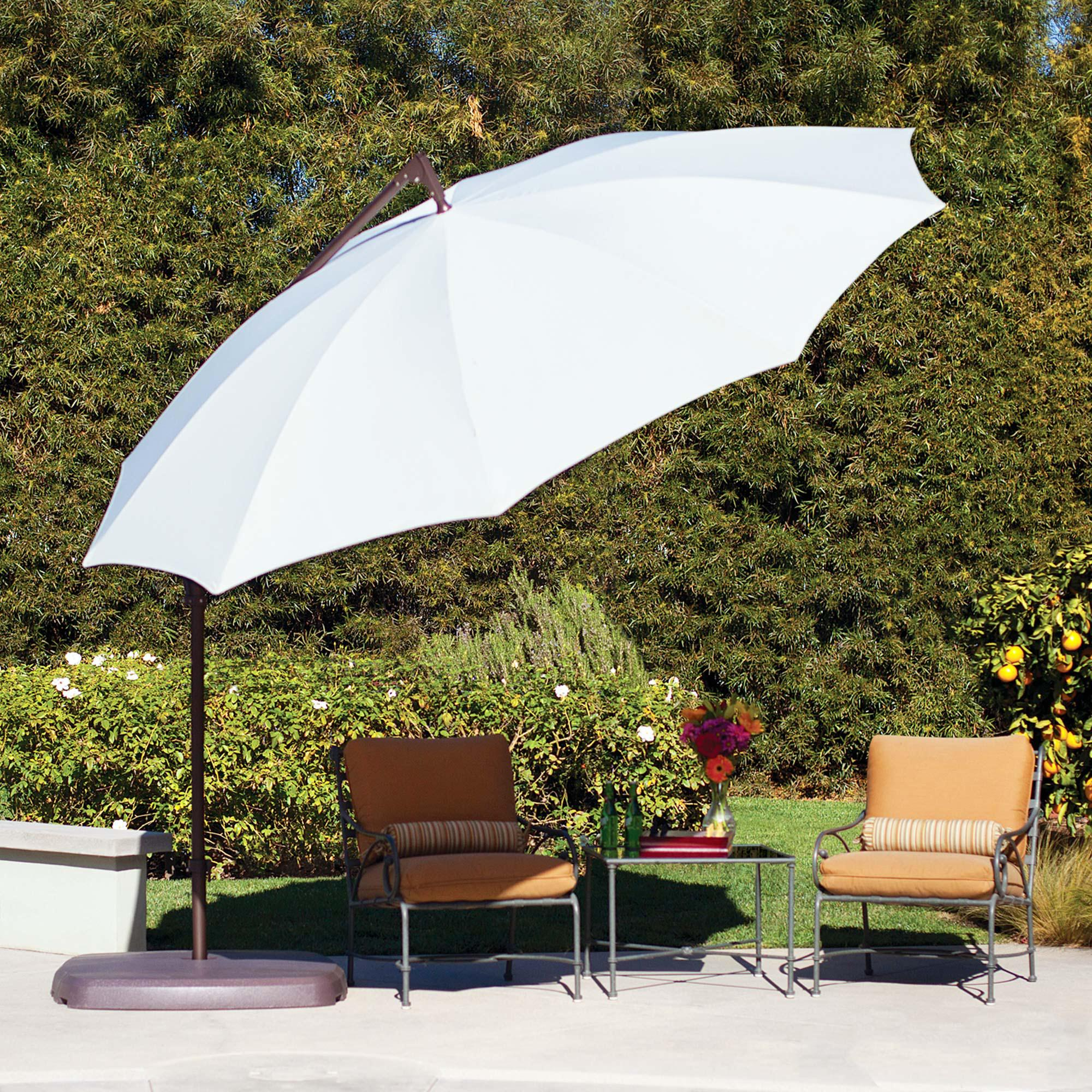 umbrella santorini 10 ft. cantilever with base in 4 colors | dfohome Base for 10 Ft Umbrella