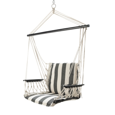 Single Cushioned Swing - Black and White Stripe