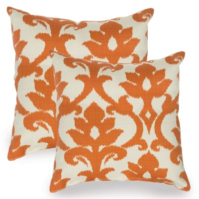 Tangerine Basalto Indoor/Outdoor Throw Pillow - Set of Two