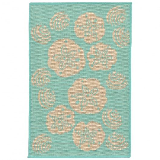 Terrace Shell Toss Turquoise Outdoor Rug