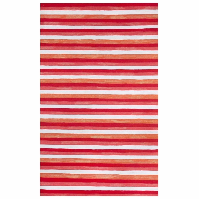 Visions II Painted Stripes Indoor/Outdoor Rug - Warm
