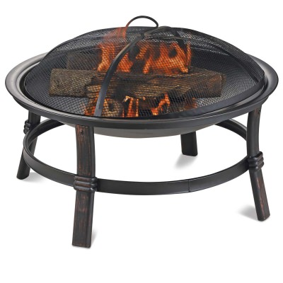 Endless Summer Round Brushed Copper Wood Burning Firebowl