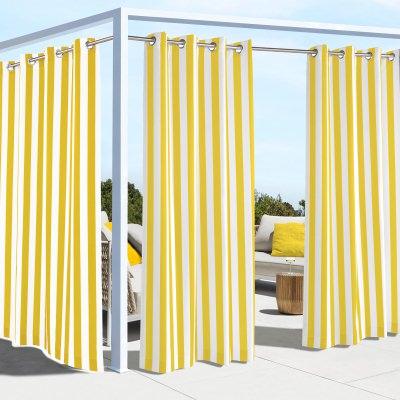 Yellow Coastal Stripe Polyester Outdoor Curtain